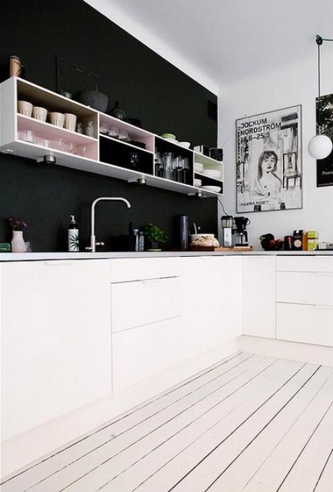 Black and white kitc