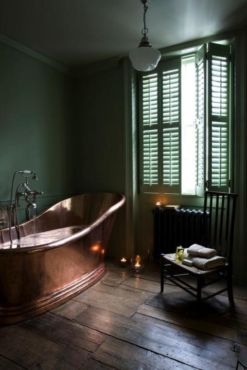 Copper tub, soft gre