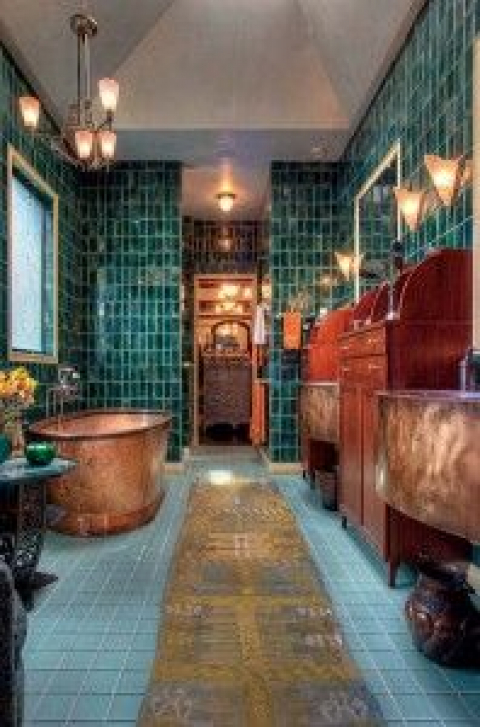 In the master bath,