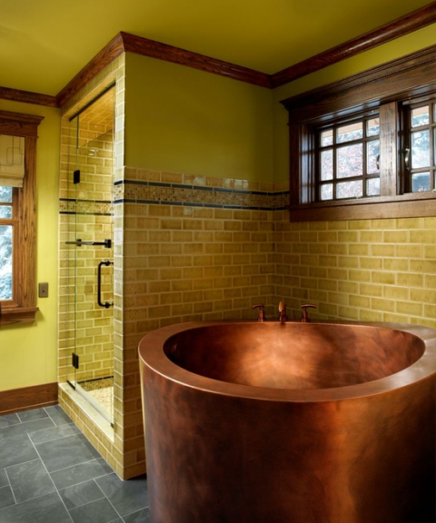 Copper soaking tub.
