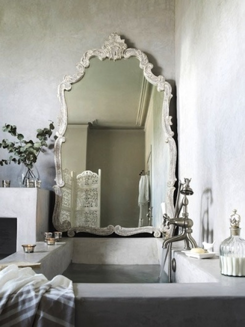 Mirror against wall