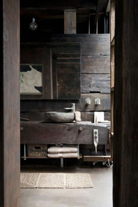 Rustic Bathroom with