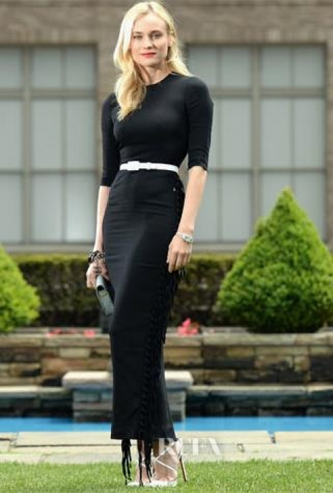 black dress with whi