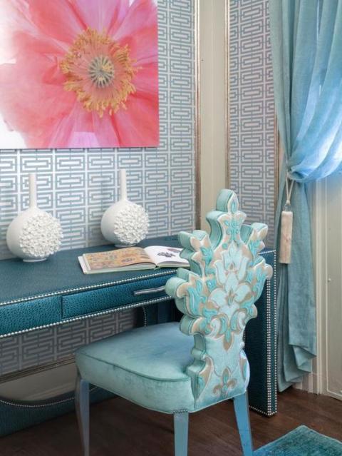 A stylish blue desk
